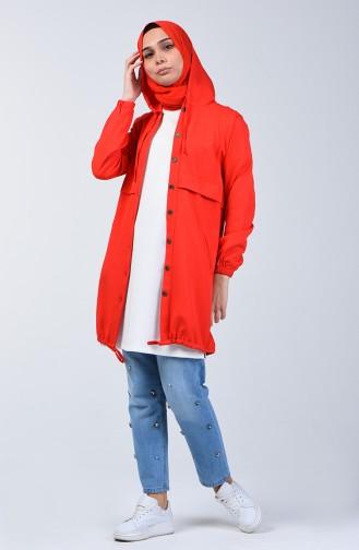 Kolu Lastikli Kapüşonlu Tunik 0213-01 Kırmızı