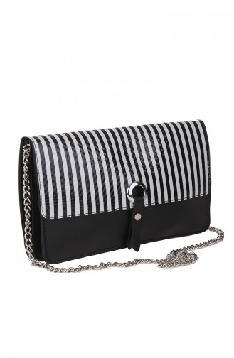 Women´s Cross Shoulder Bag M389-03 Black White 389-03