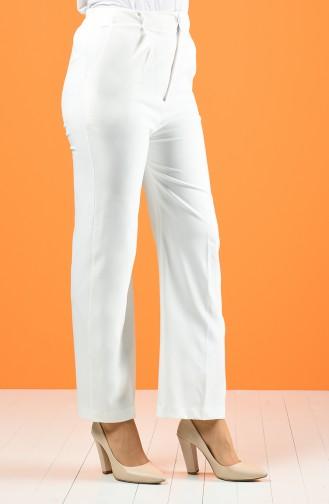 Double Paça Pantolon 5297-04 Beyaz