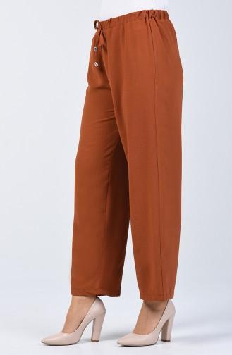 Beli Lastikli Bol Paça Pantolon 0121-01 Taba 0121-01