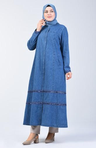 Grösse Grosse Pailletten Jeans Hijab Mantel 0406-01 Jeans Blau 0406-01