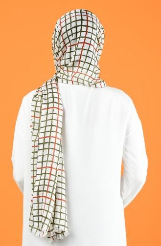 Patterned Cotton Shawl Ecru Khaki 901606-04