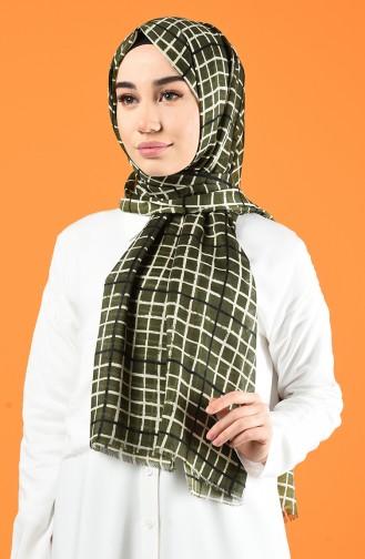 Patterned Cotton Shawl Khaki 901606-07