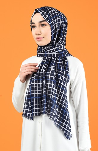 Patterned Cotton Shawl Navy Blue 901606-09