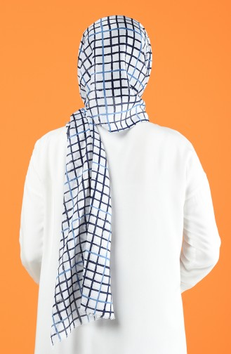 Patterned Cotton Shawl White Blue 901606-10