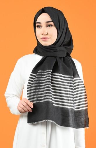 Line Pattern Cotton Shawl Black 901611-01