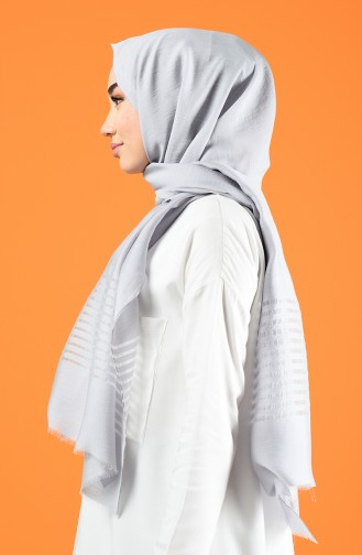 Line Pattern Cotton Shawl Gray 901611-07