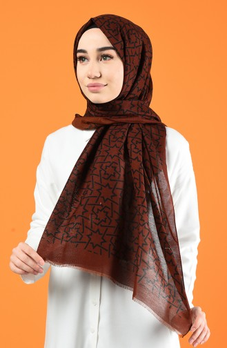 Patterned Cotton Shawl Brown Tobacco 901612-01