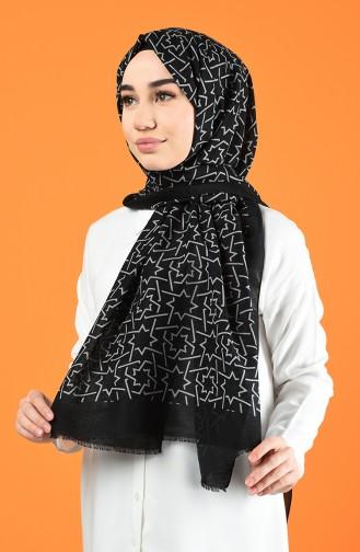 Patterned Cotton Shawl Black 901612-04