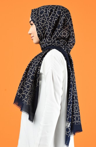 Patterned Cotton Shawl Navy Blue Beige 901612-08