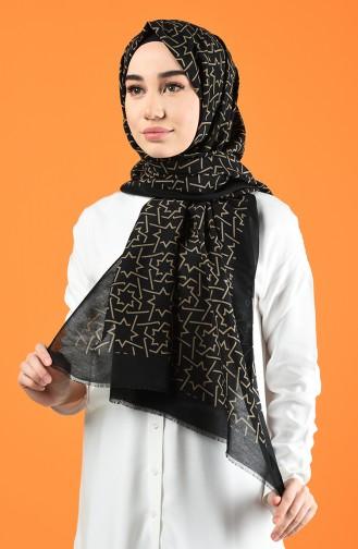 Patterned Cotton Shawl Black Beige 901612-10