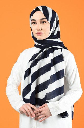 Patterned Cotton Shawl Navy Blue 901613-02
