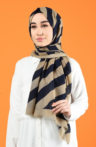Patterned Cotton Shawl Beige Navy Blue 901613-11