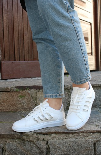 Women´s Sneakers MDR09-04 White Silver Stripes 09-04