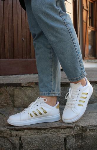 Bayan Spor Ayakkabı MDR09-05 Beyaz Gold Çizgili 09-05
