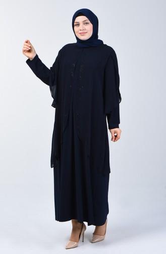 Büyük Beden Taş Baskılı Abiye Elbise 7803-01 Lacivert