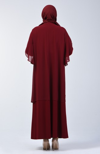 Plus Size Stone Printed Evening Dress 7803-02 Claret Red 7803-02