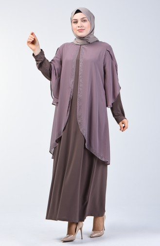 Büyük Beden Taş Baskılı Abiye Elbise 7803-03 Vizon 7803-03