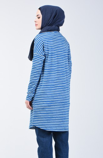 Çizgili Tunik 1285-01 Mavi