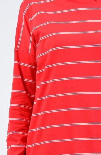 Çizgili Tunik 1289-01 Kırmızı