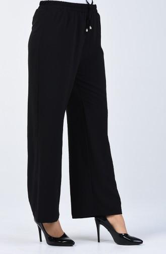 Aerobin Kumaş Bol Paça Pantolon 0911-04 Siyah