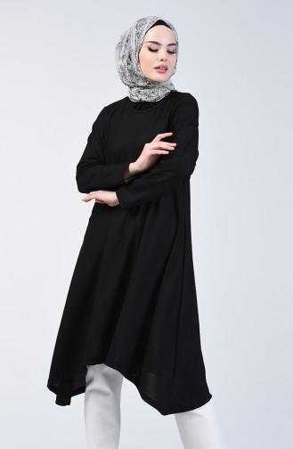 Basic Asimetrik Uzun Tunik 0076-06 Siyah