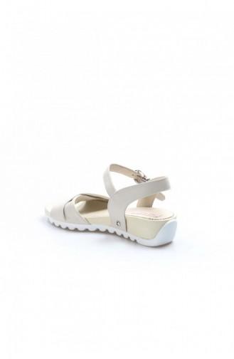 Fast Step Sandalet Hakiki Deri Bej Dolgu Topuk Ayakkabı 009Za6059