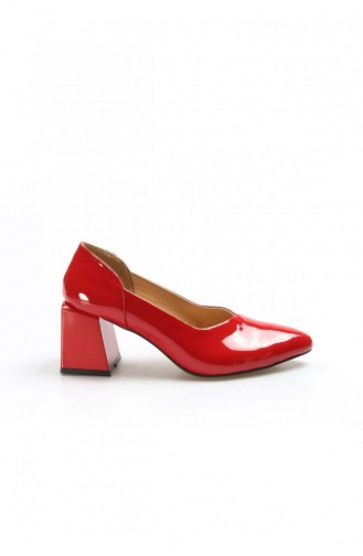 Fast Step High Heels Real Leather Red Patent Leather Thick Heels Slippers 064Za793 064ZA793-16777559