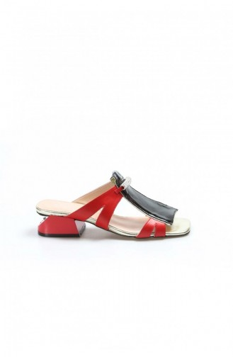 Fast Step Real Leather Red Gold Patent Leather Short Heel Slippers 064Za758 064ZA758-16782433