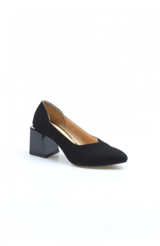 Fast Step High Heels Real Leather Black Suede Thick Heels Slippers 064Za793 064ZA793-16777285