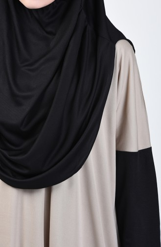 Büyük Beden Çift Renkli Pratik Namaz Elbisesi 0910B-01 Vizon Siyah