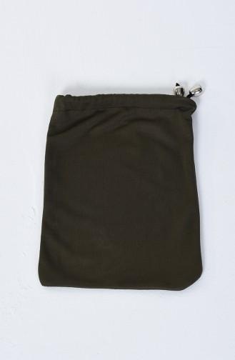 Büyük Beden Çift Renkli Pratik Namaz Elbisesi 0910B-02 Haki Siyah