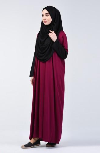 Çift Renkli Pratik Namaz Elbisesi 0910-03 Fuşya Siyah