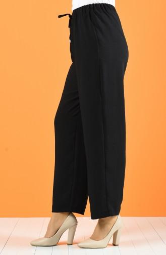 Beli Lastikli Bol Paça Pantolon 0121-04 Siyah 0121-04