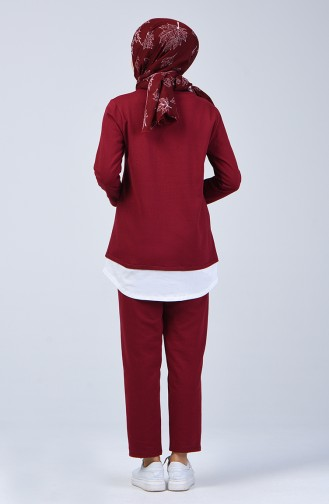 Two-Thread Tunic Trousers Double Set 2002-02 Burgundy 2002-02