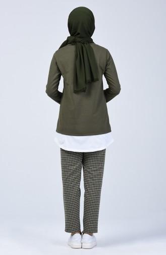 İki İplik Kareli Tunik Pantolon İkili Takım 2003-01 Haki 2003-01