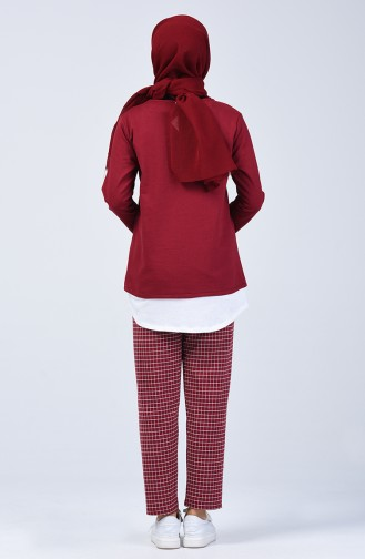 Two-Thread Checkered Tunic Trousers Double Set 2003-03 Burgundy 2003-03