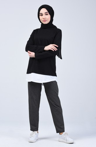 Two-Thread Checkered Tunic Trousers Double Set 2003-05 Black 2003-05