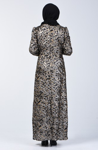 Pul Payetli Abiye Elbise 7263-01 Siyah