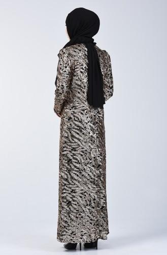 Pul Payetli Abiye Elbise 7263-03 Bakır
