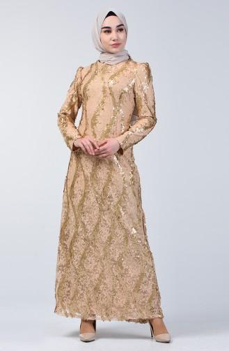 Gold Hijab-Abendkleider 7264-01