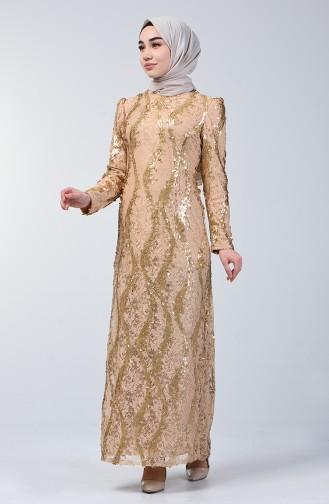 Dantel Üstü Payet İşlemeli Abiye Elbise 7264-01 Gold