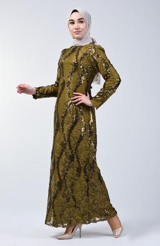 Khaki Hijab-Abendkleider 7264-03