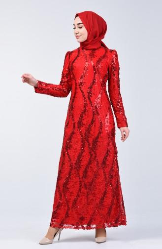 Rot Hijab-Abendkleider 7264-07