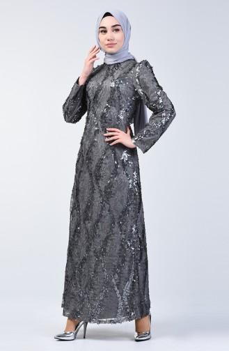 Dunkel-Grau Hijab-Abendkleider 7264-08