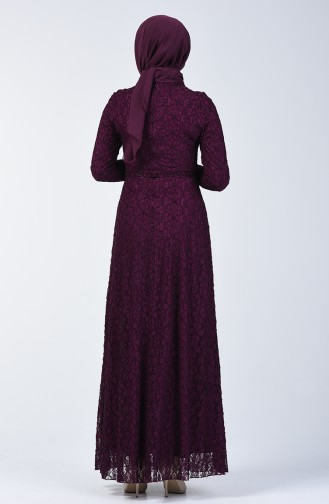 Lace Belted Evening Dress 1010-02 Purple 1010-02