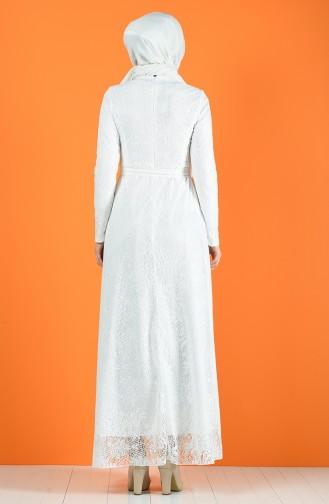 White İslamitische Avondjurk 1011-02