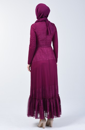 Shirred Tulle Dress 1014-02 Fuchsia 1014-02