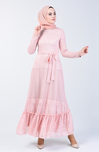 Shirred Tulle Dress 1014-03 Powder 1014-03