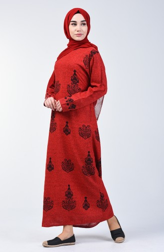 Cotton Patterned Dress 3333-01 Red 3333-01